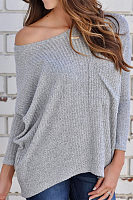 Round Neck Pocket Long Sleeve Plain Loose Casual T-Shirts