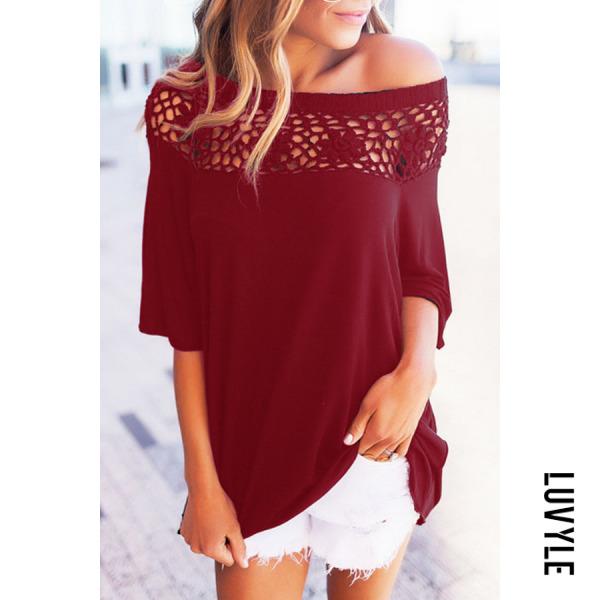 Claret Red Decorative Lace Plain T-Shirts Claret Red Decorative Lace Plain T-Shirts