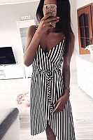 Spaghetti Strap  Asymmetric Hem  Belt  Striped  Sleeveless Casual Dresses