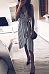 Spaghetti Strap  Asymmetric Hem  Belt  Striped  Sleeveless Casual Dresses