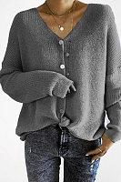V Neck  Single Breasted  Plain Cardigans