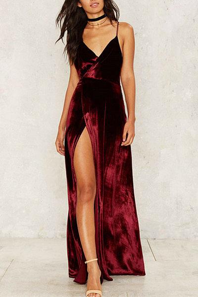 Velvet Spaghetti Strap Side Slit Party Dresses