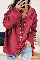 Loose-Fitting Long Sleeve Plain Hoody