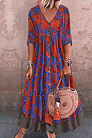 Bohemian V Neck Colour Block Printed Colour Three-Quarter Dress