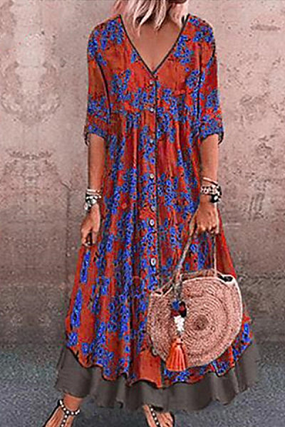 Bohemian V Neck Colour Block Printed Colour Three-Quarter Dress