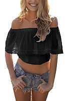 Off Shoulder  Flounce  Exposed Navel  Plain  Blouses