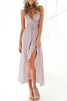 Spaghetti Strap V Neck  Backless  Belt Loops  Printed  Sleeveless Maxi Dresses
