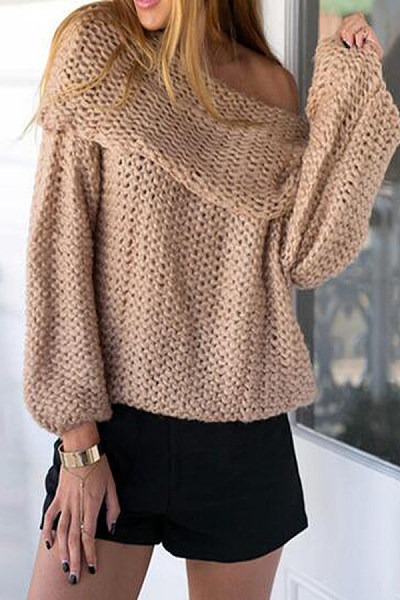 Turtle Neck  Plain  Raglan Sleeve Sweaters