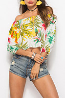 Open Shoulder  Drawstring  Print  Blouses