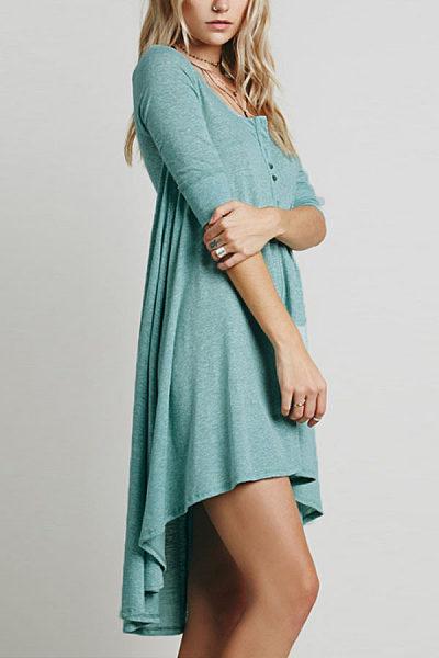 Round Neck  Asymmetric Hem  Plain  Long Sleeve Casual Dresses