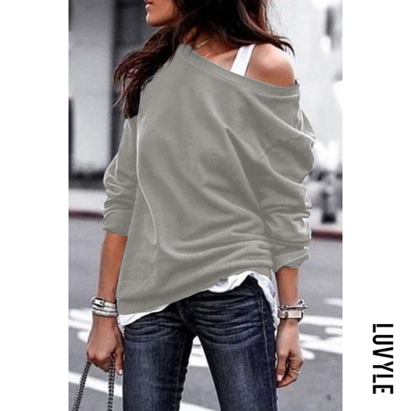Gray One Shouder Casual Soft Long Sleeve T-Shirt Gray One Shouder Casual Soft Long Sleeve T-Shirt