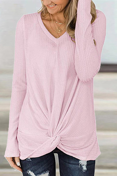V-neck long sleeve solid color T-shirt