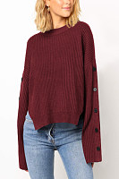 Casual  Decorative Button  Plain  Long Sleeve Sweaters