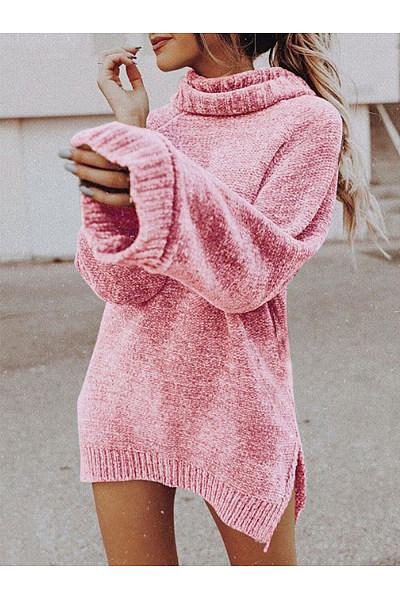 Cowl Neck  Slit  Plain Sweaters