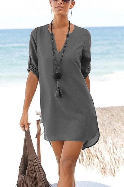 V Neck  Asymmetric Hem  Belt  Plain  Half Sleeve Casual Dresses