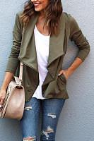Asymmetric Neck  Zipper  Plain Jackets