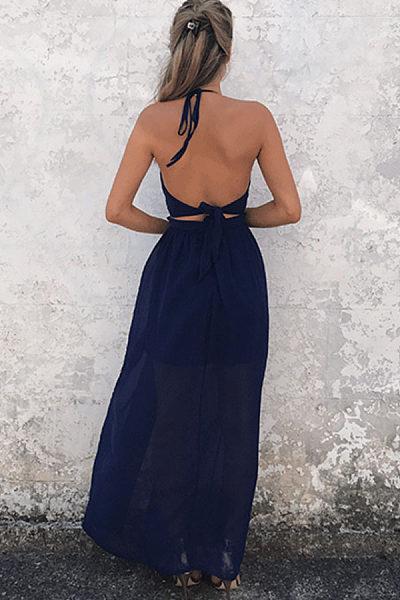 Halter  Backless High Slit  Plain  Sleeveless Maxi Dresses
