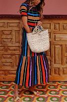 Round Neck  Color Block Striped  Short Sleeve Maxi Dresses