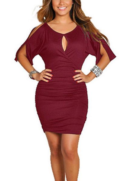 V Neck Cutout Short Sleeve Bodycon Dresses