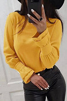 Casual Round Neck Long Sleeve Plain Blouse
