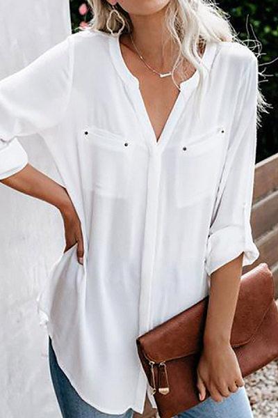 Casual Lapel Button Shirt Tops Women