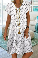 V Neck Short Sleeve Polka Dot Casual Dress