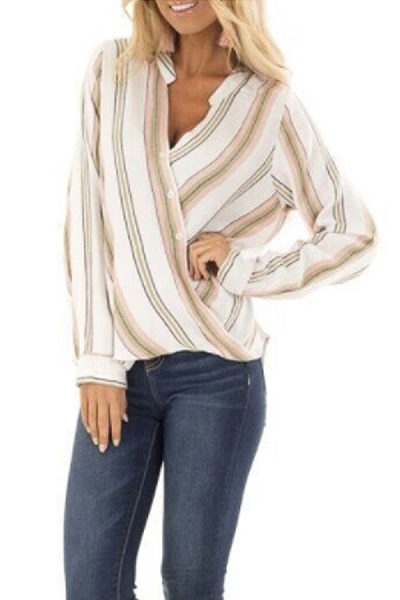 Surplice  Striped Basic Blouses