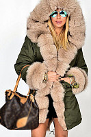 Faux Fur Collar  Patch Pocket  Plain Outerwear
