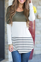 Round Neck  Asymmetric Hem  Color Block Striped T-Shirts