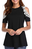 Round Neck Patchwork Lace Short Sleeve T-shirt
