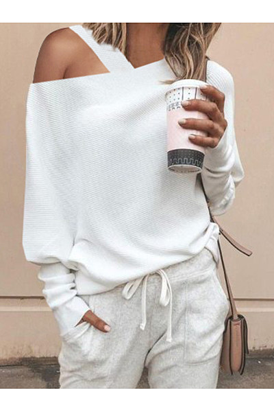 Fashion Sexy Shoulder Out Puff Sleeves Sweater