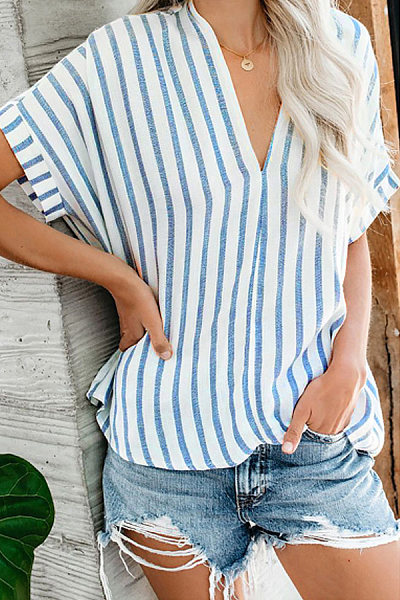 V Neck Striped Casual Blouse