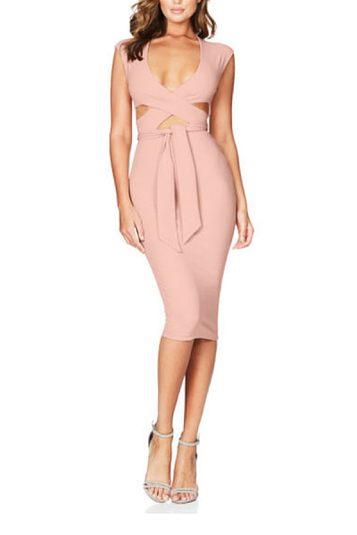 Surplice  Backless  Belt  Plain  Sleeveless Bodycon Dresses