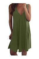 V Neck Sleeveless Plain Brief Casual Dresses