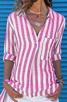 Lapel Pocket Striped Long Sleeve Blouses
