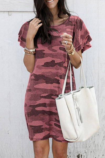 Round Neck Short Sleeve  Camouflage Casual Dress