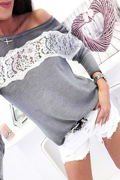 One Shoulder  Lace Patchwork T-Shirts