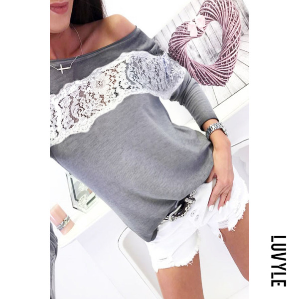 Gray One Shoulder Lace Patchwork T-Shirts Gray One Shoulder Lace Patchwork T-Shirts