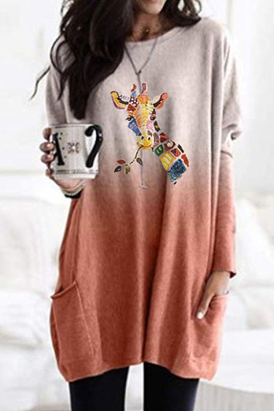 Fashion Color Deer Print Gradient Long-sleeved T-shirt