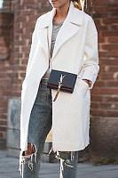 Fold Over Collar  Plain Cardigans