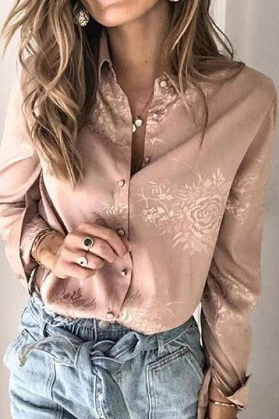 A Lapel Long Sleeve Floral Blouse