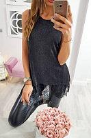 Round Neck  Lace Plain Camis