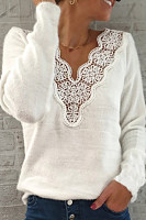 Fashion casual V-neck long sleeve sweater