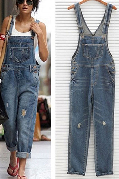 Spaghetti Strap  Backless  Plain  Sleeveless Denim Overalls