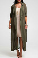 Turn Down Collar  Slit Snap Front  Belt  Plain Trench Coat