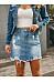 Solid Color Denim Skirt