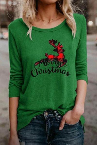 Christmas Printed Round Neck Long Sleeve T-Shirt