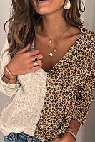 Womens Casual Leopard Printed Long Sleeve Sweater