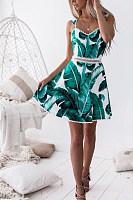 Spaghetti Strap  Backless  Abstract Print  Sleeveless Skater Dresses