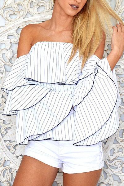 White Off Shoulder Bell Sleeve Smocked Bodice Striped Blouses